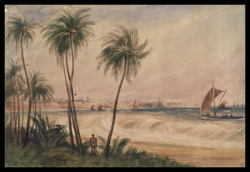A view of Colombo (Ceylon), with palm trees and the shore in the foreground